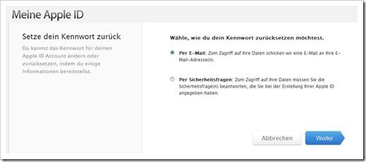 Meine Apple ID: Wähle, wie du dein Kennwort zurücksetzen möchtest