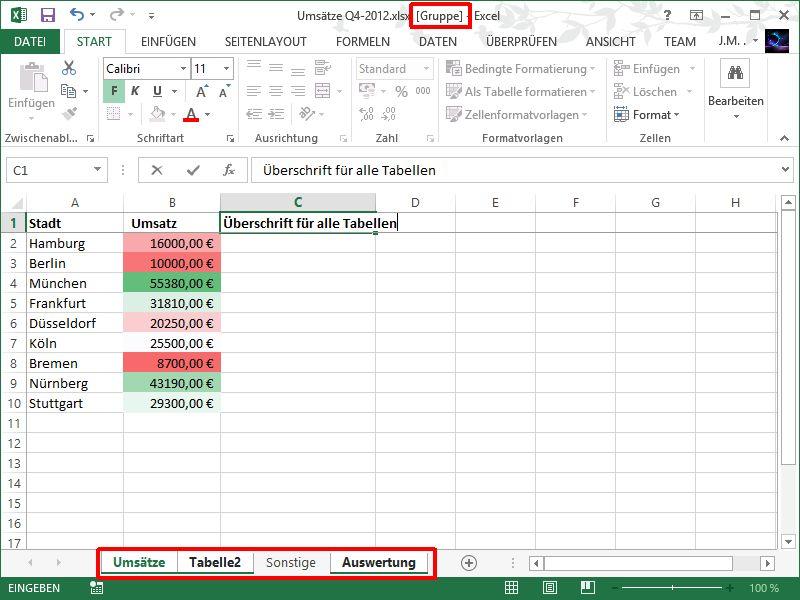 Excel Tabellenblätter Aktivieren : Excel zellen auf mehreren tabellen blättern gleichzeitig